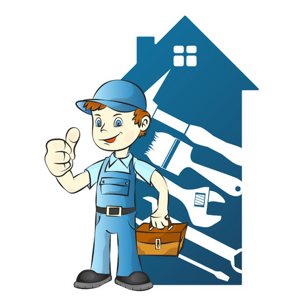Repairman on house background illustration 矢量图像