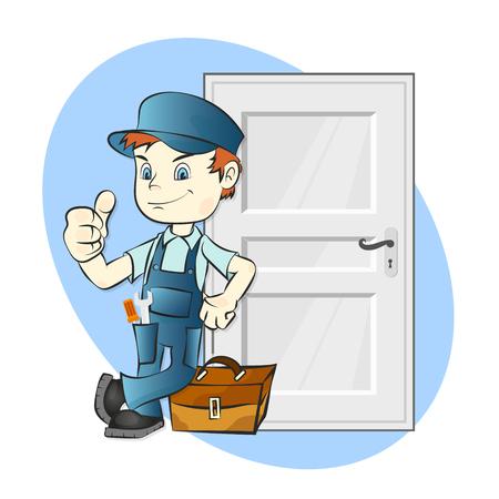 修理やドアの図のインストール  イラスト・ベクター素材