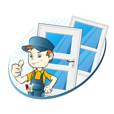 Specialist for installing windows and doors illustration