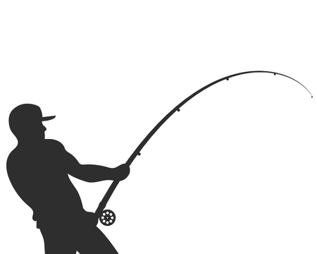 Silhouetted fisherman with a fishing rod vector illustration Фото со стока - 85540499