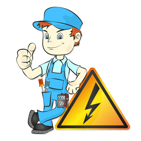 Electrician with tool for repair vector