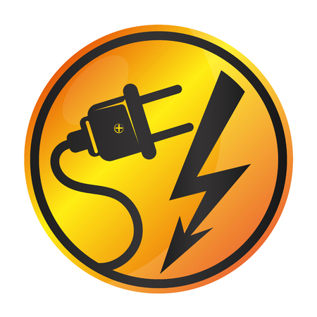 Electricity sign vector plug and lightning