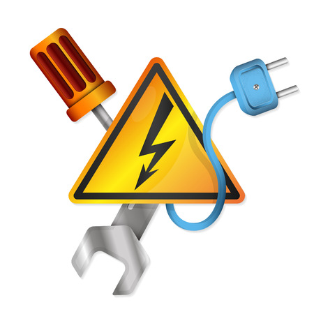 Electricity with vector symbols tool Illustration