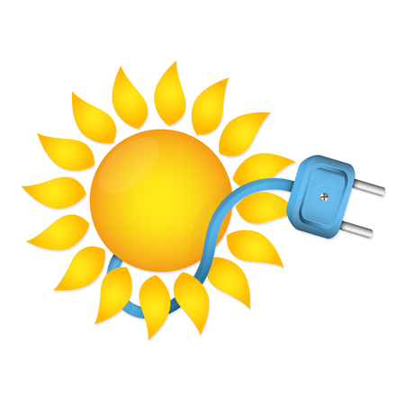 Sun and electric plug with power cable Illustration