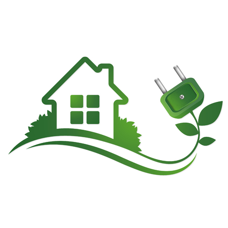 Eco house and electrical plug, alternative sources of energy