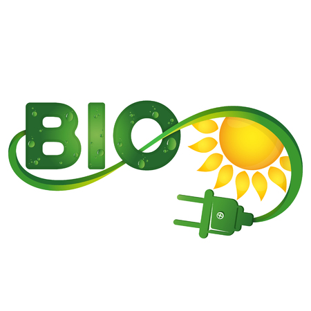 Bio-Symbol mit elektrischer Stecker und Sonne Illustration Standard-Bild - 86091868