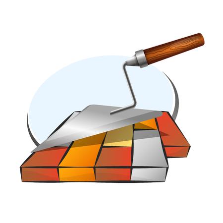 Sidewalk tile and trowel symbol for business Illustration