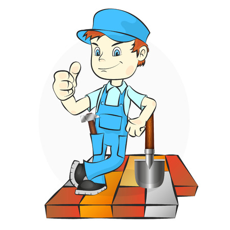 Worker laying paving slabs and cobbles illustration