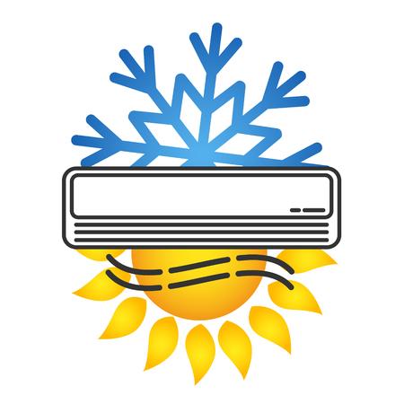 太陽と雪の結晶の部屋のシンボルのためのエアコン
