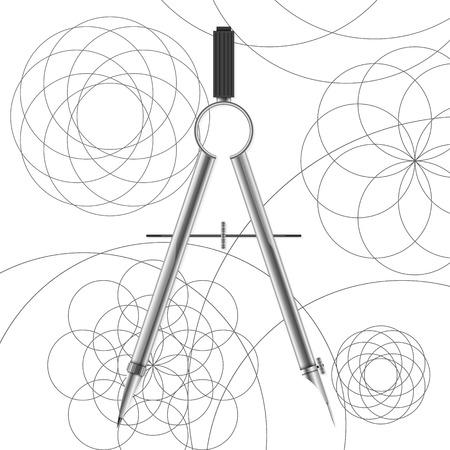 Drawing compasses and drawn circles vector illustration