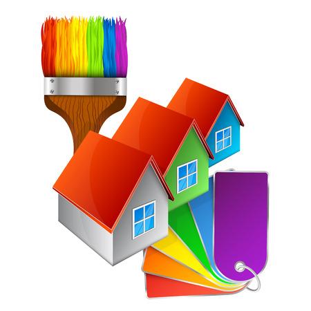 Schilderij huizen symbool met een palet van verven voor het bedrijfsleven