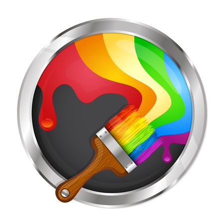 wet paint: Brush with paint symbol for business