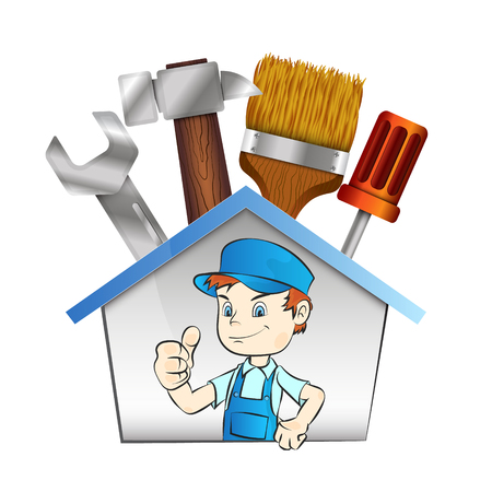 handy man: Worker with repair tool illustration