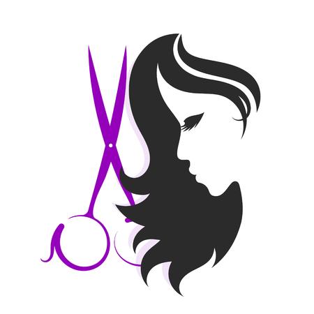Ciseaux et silhouettes de filles pour un salon de beauté Banque d'images - 87662416