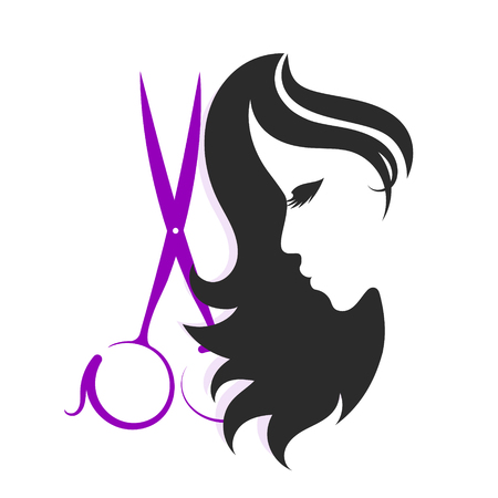 Scissors and silhouettes of girls for beauty salon Ilustracja