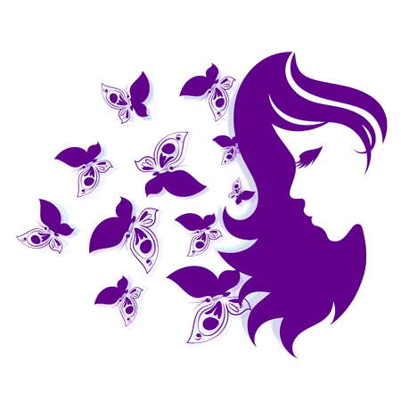Silhouettes of girls and butterflies vector
