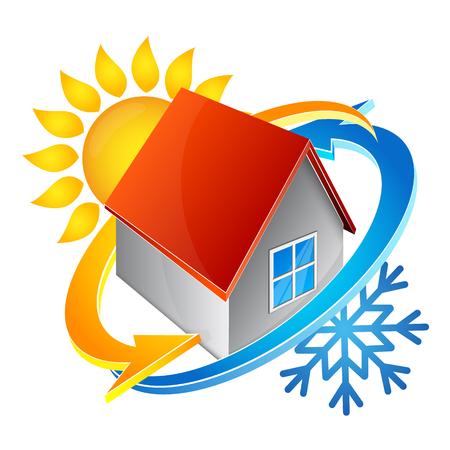Temperatuur in het huis symbool van airconditioning Stockfoto - 87774653