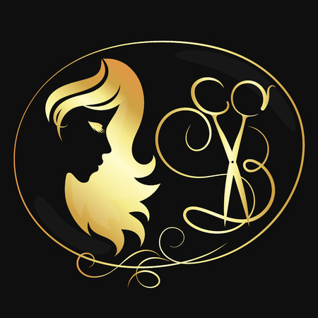 Scissors and girl beauty salon symbol golden