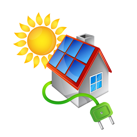 Alternative and renewable energy sources for the home vector deisgn.