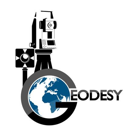 Urządzenie geodezyjne i glob symbol wektor dla biznesu Ilustracje wektorowe