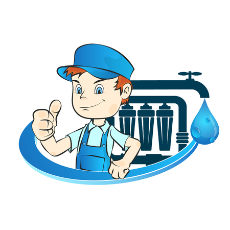 Master of installation of water filters Illustration