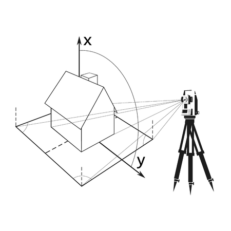 Geodesy for measuring a house and plot of land symbol