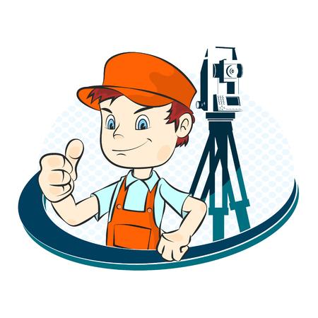 geodesy: Surveyor with a tool illustration Illustration