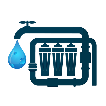 Purification and filtration of water and pipeline Çizim