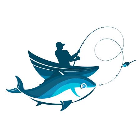 Pêcheur sur un bateau avec une tige et un vecteur de silhouette de poisson