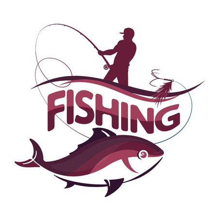 ロッドと魚ベクター デザインの漁師。