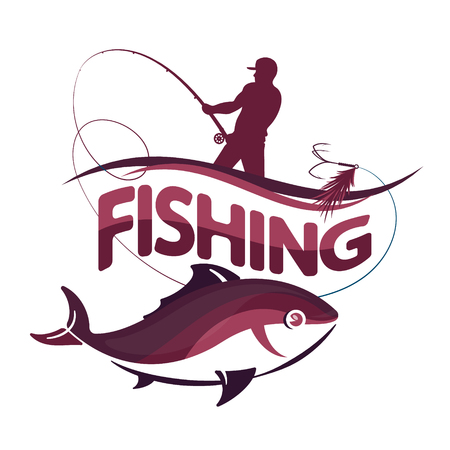 A fisherman with a rod and a fish vector design. Stock Illustratie