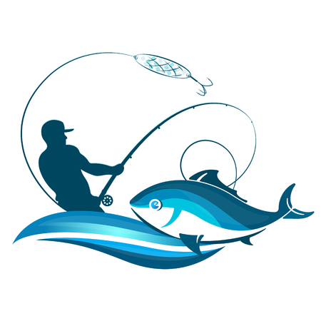 Fisherman fishing with a fishing rod silhouette vector