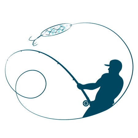 漁師は釣り竿と輝くシルエットと  イラスト・ベクター素材