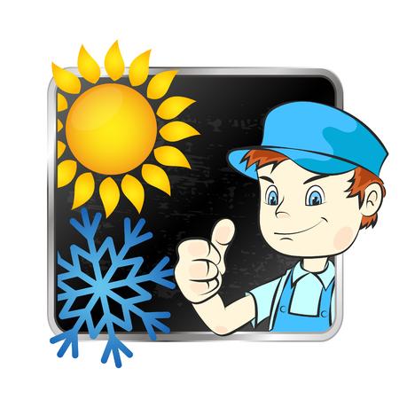 Air conditioner repairman symbol vector