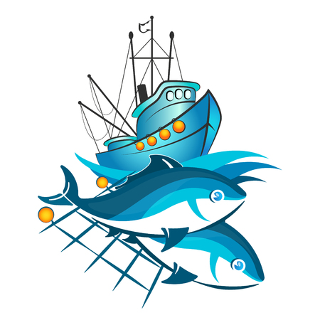 Fishing boat and catch fish in nets illustration