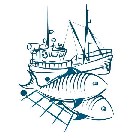 Fischerboot und Fisch im Netzschattenbild Standard-Bild - 89859111