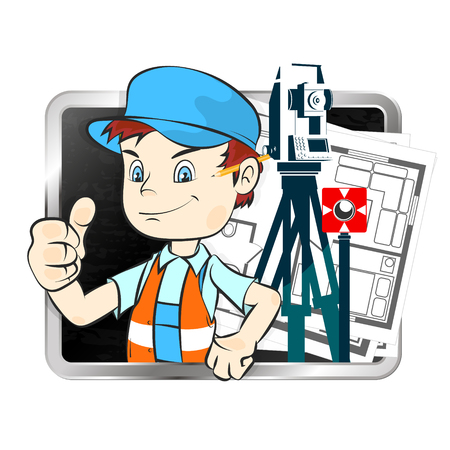 Surveyor with tools and drawings illustration