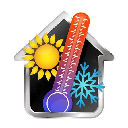 Temperatuur in het huis airconditioning en verwarming symbool