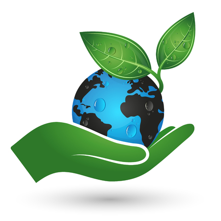 Planet Earth and green leaf in hand symbol of ecology