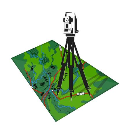 Ilustracja geodezyjna narzędzia i mapy, samodzielnie na białym tle