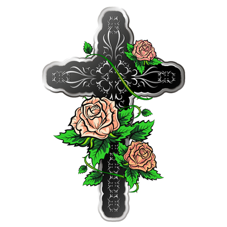 Cross with ornament and with roses vector