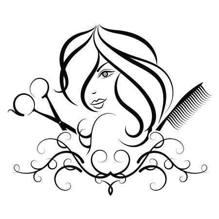 Salon de beauté et coiffeur pour la fille. Ciseaux et peigne silhouette Banque d'images - 90682727