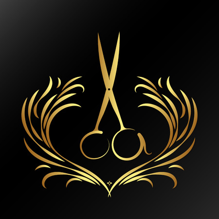 Scissors with ornament for hairdresser and beauty salon symbol of golden color