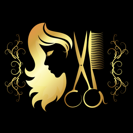Girl for a beauty salon with scissors and gold coloring