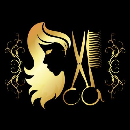 Meisje voor een schoonheidssalon met een schaar en gouden kleuren