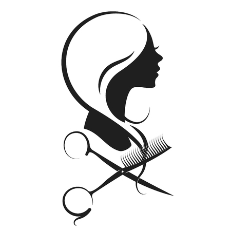 Girl and scissors with a comb silhouette vector Çizim