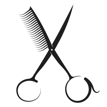 Nożyczki i grzebień sylwetka dla fryzjera i salonu kosmetycznego