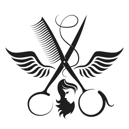 Nożyczki z grzebieniem i skrzydłami symbol dla salonu piękności i fryzjera