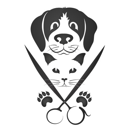 Hairdresser for cats and dogs silhouette for business
