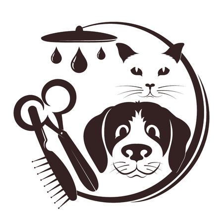 Hairdresser for pets symbol with a tool
